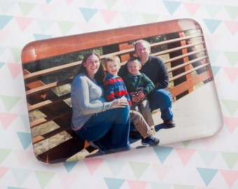 Photo Magnet Personalized Extra Large Rectangle Glass 50x75 mm Custom Magnet