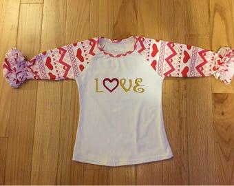 Valentine's Day Love Girls Ruffle 3/4 Sleeve Custom Shirt
