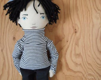"READY TO SHIP - Julien - 20"" Heirloom, One-of-a-kind, Fabric Boy Doll - Black and White - Rag doll - Handmade - Fashion - Decor"
