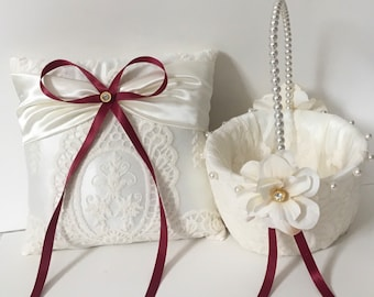 Your choice ribbon Wedding ring pillow ivory lace on satin ring bearer pillow flower girl basket vintage look elegant romantic custom made