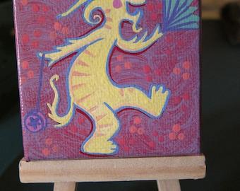 Mini Acrylic Painting Fantasy Dancing Lion Creature Original Art