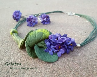 Spring Woodland jewelry set Wild violets jewelry Nature Inspired Forestt jewelry for Mom Spring jewelry gift for Bridesmajd Forest wedding