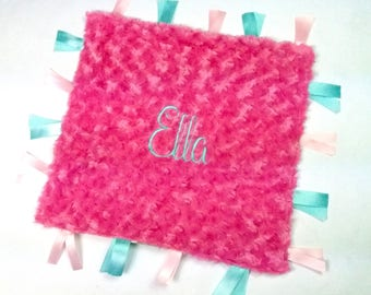 Minky Blankets, Tag Blanket, Baby Shower Gifts,Baby Gifts, Name Blanket,Ribbon Blanket, Lovey Blanket,Embroidered Blanket, Baby Girl Blanket