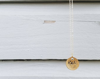 Dainty Y'all Necklace, Cowgirl Jewelry, Stamped Gold Necklace, Simply Southern Jewelry, Texas Necklace, Sorority Gift, Coin Jewelry,