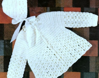 Vintage Crochet Pattern PDF Baby Matinee Jacket Cardigan and Bonnet