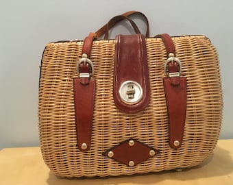 Vintage Wicker or Straw Handbag with Leather Accents