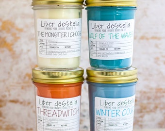 FOUR PACK SAMPLER Book Inspired 8oz Jar Candles - Book Candle - Book Gift - Book Lover - Bookish