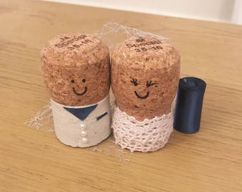 Bride and Groom Cork Cake Topper