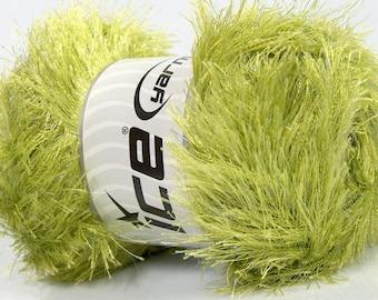 Large 100 gram skein Light Green Eyelash Glitz Ice Sparkly Eyelash Yarn 46560 - 153 Yards