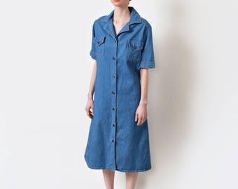 1970s Denim Shirt Dress 70s Vintage Midi Jean Dress Boho Hippie M