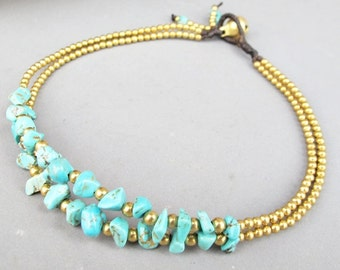 Two Strand Turquoise Chip Stone Anklet Bracelet with Brass Bead