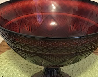 Vintage Bowl Kitchen Depression Glass Red Bowl on Pedestal Fruit Bowl Compote Ruby Red