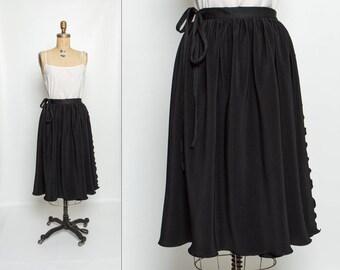 vintage 70s black wrap skirt | crinkle pleat midi