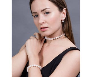 Single Strand White Freshwater Pearl Necklace and Bracelet Set Freshwater Pearl Jewelry Set Pearl Jewelry Gifts For Her