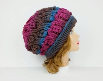 Crochet Beanie Hat, Slouchy Hat, Crochet Hat, Women's Hat, Folded Brim Hat, Slouchy Beanie, Women's Beanie, Winter Hats For Women