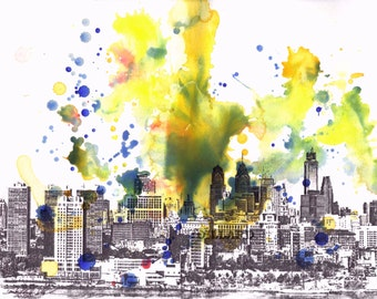 Philadelphia Skyline Art Print Phili Art Print From Original Watercolor Painting Philadelphia Poster Art Print Philadelphia skyline print