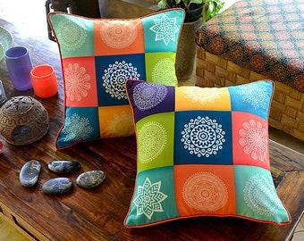 Brenda Squared Colorful Mandala Motif Decorative Pillow, Accent Pillow, Pillow Cover, Cushion Cover, Throw Pillow, Boho Pillow, Bali Cushion