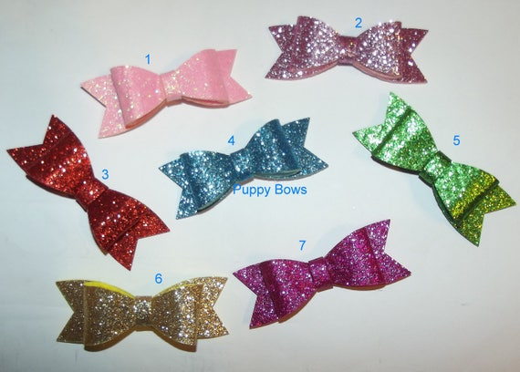 "Puppy Bows ~BIG glitter bow for medium/large dogs  2.5"" MANY COLORS!  ~Usa seller  (fb21)"