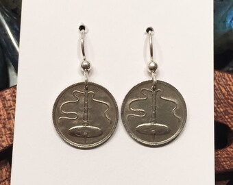 Supported or Bottom Whorl Spindle Coin Earrings with Sterling Silver Hooks