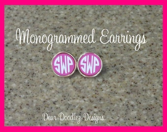Monogrammed Hot Pink Josie Earrings Gold Plated
