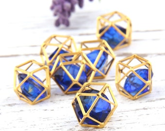 Gold Hexagon Cube Pendant with a Diamond Shaped Acrylic, Geometric Pendant, 12mm, 1 piece // GP-463