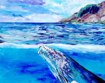 Whale art prints, Humpback Whale print, 8x8, Hawaiian art, Kauai art prints, Hawaii painting, Hawaiian whales, whale ocean art, under sea