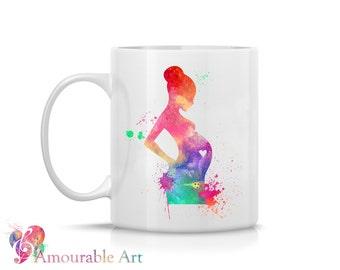 Coffee Mug, Ceramic Mug, Pregnant Mug, Unique Coffee Mug Gift, 11oz or 15oz, Watercolor Art Print Mug, Two-Sided Print, Coffee Lover Gift