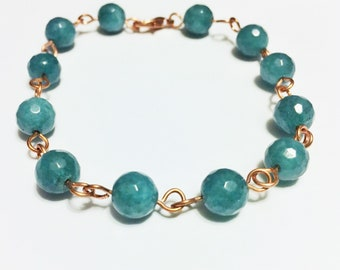 Jade copper wire linked beaded bracelet wire wrapped bracelet handmade gift for her wire wrapped jewelry
