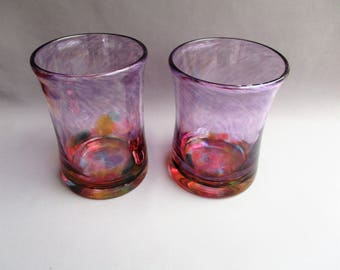 Hand  Blown Art Glass Tumblers,Beakers -  Purple with Multicolored Bottom.