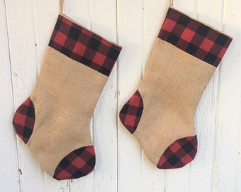 Buffalo Plaid & Burlap Christmas Stocking- Red and Black Buffalo Check- Natural Burlap-Cotton Flannel- Rustic-Cabin-Woodland-Holiday Decor