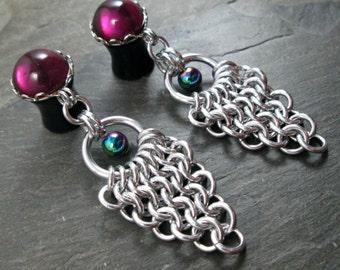 "Dangle Plugs - 00g 10mm - 1/2"" 12mm - Rainbow Gauges - Chainmaille Plugs - Chainmail Jewelry - Wedding Gauges - Bridal Plugs"