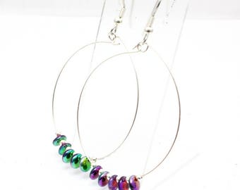 Large Hoop Earrings, Rainbow Colors, Czech Lentil Beads, Hoop Dangle Earrings, Jewel Tones, Mardi Gras