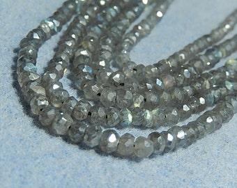 Labradorite Gemstone.  Faceted, AB,  Rondelle,  Semi Precious Gemstone.  3.5mm   Strand (13LBa)