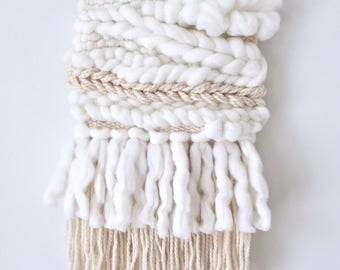 White and Beige Woven Wall Hanging / Weaving