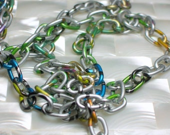 1 Foot Aluminum Chain Metallic Silver Multi Color Print Oval Link Pink Green Blue Aquatic Nature Inspired Black Lightweight FUN Colorful