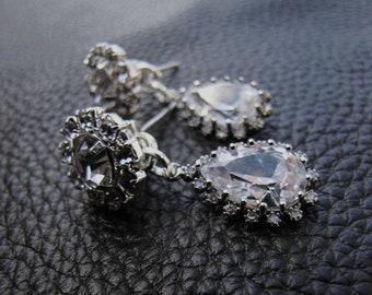 Bridal stud drop earrings, Tear drop cubic zirconia with diamond look alike rhinestone studs sterling silver ear posts