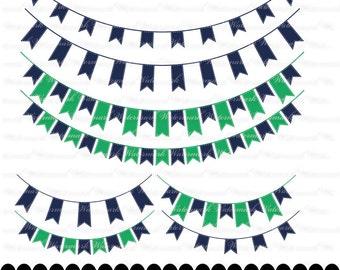 Navy Green Banner clip art - blue ribbon clipart graphics, ribbon bunting scrapbook green : c0248 3s2026