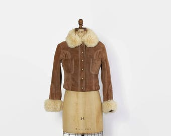 Vintage 70s Suede JACKET / 1970s Cropped Mocha Brown Leather jacket with Genuine Fluffy Shearling Fur Collar & Cuffs XS