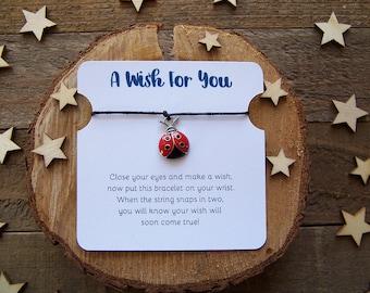 Silver Ladybug Wish Bracelet, Wish Bracelet, Ladybug Friendship Bracelet, Ladybug Jewelry, Ladybug Gift, Charm Bracelet, Cord Bracelet