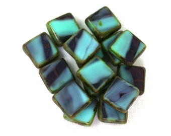 Light Blue Green opaque Purple transparent w/ picasso table cut 10mm square tile beads. Set of 8, 15 or 30.