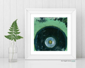 record art print, VINYL record painting, vintage music art, modern hipster art print, mint green, abstract wall art, retro music art print,