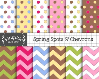 Pastel Digital Paper Pack, Scrapbook Paper, Digital Download, Pastel Chevron, Pastel Polka Dot, Instant Download, Commercial Use