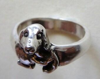 Sterling Silver Dachshund Dog Ring