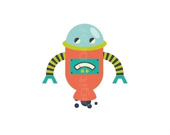 Robots NIños-  Habitacion - Ilustracion Infantil -Arte Robots - Ilustracion - Decoracion Infantil - Bebes- Arte Dormitorio Niños