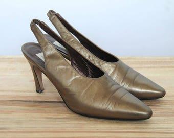 burnished bronze -- vintage 70s i magnin sling-back mule heels 7 1/2