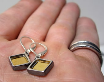24K and Sterling Silver Mixed Metal Modern Earrings