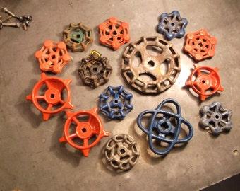 Assemblage of 14 Vintage Gate Valve Handles - Industrial Steampunk Repurpose