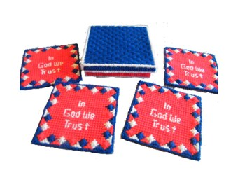 PATTERN: In God We Trust Patriotic Coaster Set with Box Plastic Canvas Pattern