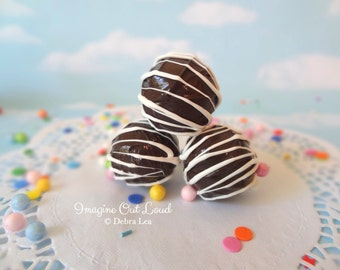 FAUX Fake Truffles Dark Chocolate with White Chocolate Drizzle