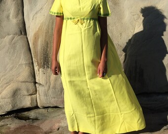 60's Yellow Floral Maxi Dress. 1960's Backless Bow Dress Full Length. Short Sleeve. Prom Dress. Medium. Lorrie Deb San Francisco.